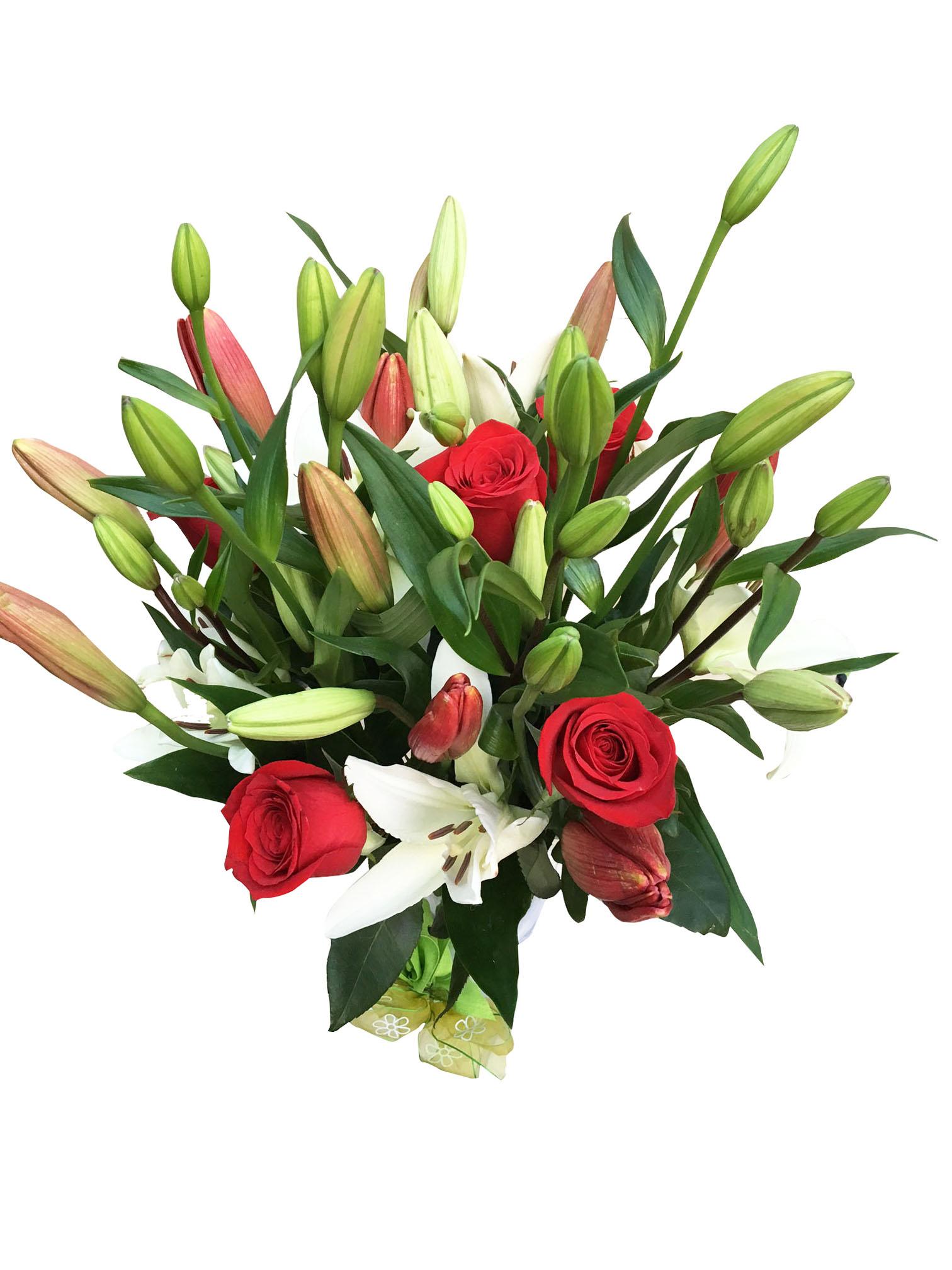 Florero De Lilium Y Rosas Mediano